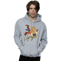 DC Comics Bombshells Supergirl Badge Men's Grey Pullover Hoodie (Small) - Cover