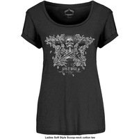 Guns N' Roses Skeleton Guns Ladies Black T-Shirt (Small) - Cover
