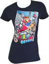 Super Mario Odyssey Flying Ladies Navy Blue Tee Shirt (Small) Cover
