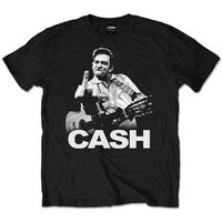 Johnny Cash Finger Mens Black T-Shirt (Medium) - Cover
