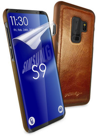 Tuff-Luv Alston Craig Genuine Vintage Leather Replacement Magnetic Shell for Samsung Galaxy S9 - Brown - Cover