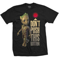 Guardians of the Galaxy Groot & Button Mens Black T-Shirt (Large)