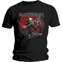 Iron Maiden Trooper Red Sky Mens Black T-Shirt (Medium) - Cover