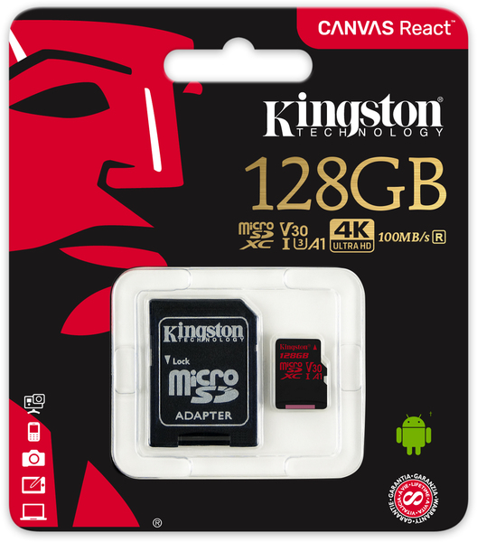 Kingston Technology - Canvas React 128GB Class 10 UHS-1 Memory Card