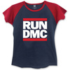 Run DMC Logo Ladies Short Sleeve Navy/Red Raglan T-Shirt (Small)