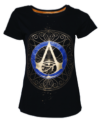 Assassin's Creed Origins - Gold Spaller Logo - Ladies T-Shirt - Black (X-Small) - Cover