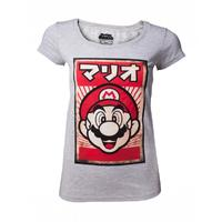Nintendo - Propaganda Mario - Womens T-Shirt - Grey (Small)