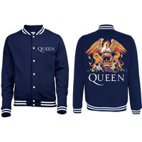 Queen Crest Mens Navy/White Varsity Jacket (Large) - Cover