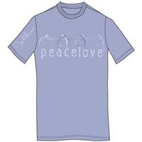 John Lennon Peace & Love Mens Light Blue T-Shirt (Small) - Cover