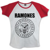 Ramones Presidential Seal Ladies White/Red Raglan T-Shirt (Large)