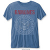 Ramones Presidential Seal Mens Burnout Mid Blue T-Shirt (Small)