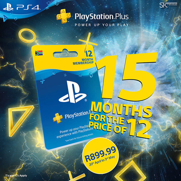 PlayStation Plus 12 Month Membership - 15 Month Promo (PS3/PS4/PS VITA)