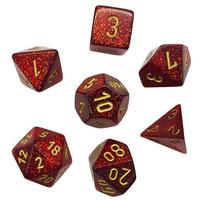 Chessex - Set of 7 Polyhedral Dice - Glitter Ruby with Gold