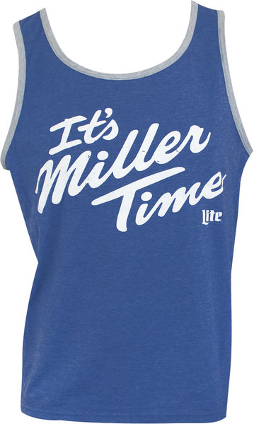 08d31ee5cd9e7 MILLER Lite It s MILLER Time Ringer Men s Blue Tank Top (Medium)