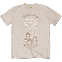 The Beatles Remember Mens Sand T-Shirt (Small) - Cover