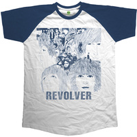 The Beatles Revolver Mens Short Sleeve Raglan Navy/White T-Shirt (Medium) - Cover