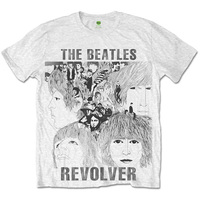 The Beatles Revolver Sublimation Mens White T-Shirt (XX-Large) - Cover