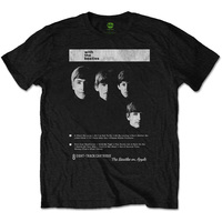 The Beatles With the Beatles 8 Track Mens Black T-Shirt (Small) - Cover