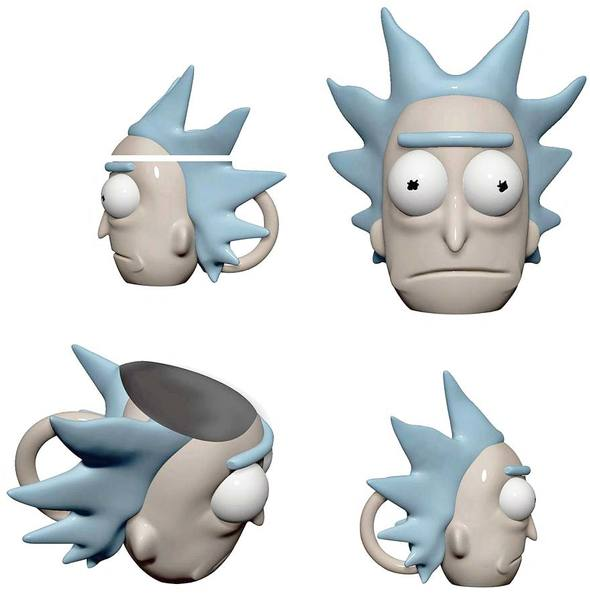 rick and morty ceramic molded rick face mug with lid merch