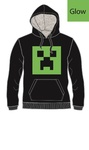 Minecraft - Creeper Glow - Youth Hoodie - Black - 8-9 Years (Small)