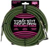 Ernie Ball 25 Foot Braided Instrument Cable (Green/Black)