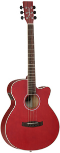 Tanglewood DBT SFCE RD Discovery Series Super Folk Acoustic Electric Guitar (Red) - Cover