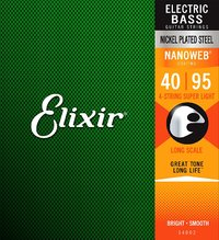 Elixir 14002 Nanoweb 40-100 4 String Super Light Nickel Plated Steel Long Scale Coated Bass Guitar Strings - Cover