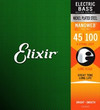 Elixir 14052 Nanoweb 45-100 4 String Nickel Plated Steel Long Scale Coated Bass Guitar Strings - Cover