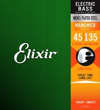 Elixir 14207 Nanoweb 45-135 5 String Lite Medium Nickel Plated Steel Long Scale Coated Bass Guitar Strings - Cover