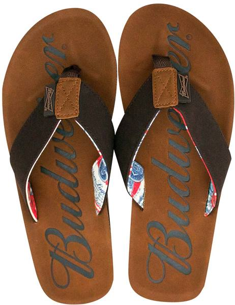 ea53779d042 Budweiser - Script Logo Men s Brown Sandals Flip Flops (Medium)