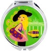 Pylones - Berlin Round Pocket Mirror - Green