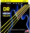 DR NYB-40 Neon Yellow 40-100 Light Nickel Plated Steel Bass Guitar Strings