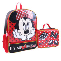 DISNEY Minnie Mouse Backpack With Lunch Bag Set - Cover