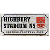 "Arsenal - Club Crest & Text ""HIGHBURY STADIUM N5"" Retro Street Sign"