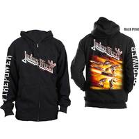 Judas Priest Firepower Mens Black Zip-up Hoodie (Medium) - Cover