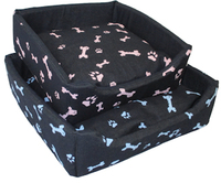 MCP - 600mm Square Dog Bed with Bone Design (Pink Bones) - Cover