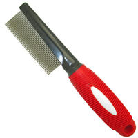 MCP - Fine Metal Comb with Red Rubber Handle (4x21cm)