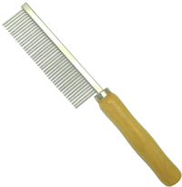 MCP - Fine Metal Dog Comb with Wooden Handle (3x20cm) - Cover