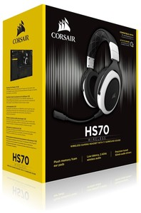 Corsair - HS70 Wireless 7 1 Gaming Headset - White/Black (PC/PS4)