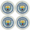 Manchester City - Club Crest Round Glass Coasters (Pack of 4)