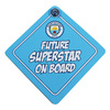 "Manchester City - Club Crest & Text ""Future Superstar On Board"" Baby On Board Sign"