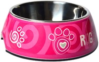Rogz - 2-in-1 Small 160ml Bubble Dog Bowl (Pink Paw Design) - Cover