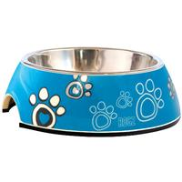 Rogz - 2-in-1 Small 160ml Bubble Dog Bowl (Turquoise Paw Design)