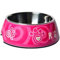 Rogz - 2-in-1 Large 700ml Bubble Dog Bowl (Pink Paw Design)