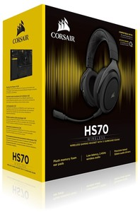 Corsair CA-9011175 HS70 Wireless 7.1 Surround Headset - Black - Cover