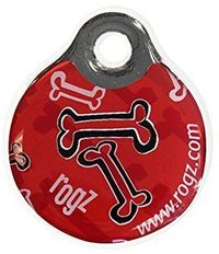 Rogz - ID Tagz Small 27mm Self-Customisable - Instant Resin Tag (Red Bone Design) - Cover
