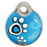 Rogz - ID Tagz Small 27mm Self-Customisable - Instant Resin Tag (Turquoise Paw Design)