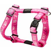 Rogz - Fancy Dress Small 11mm Jellybean Dog H-Harness (Pink Paws Design)