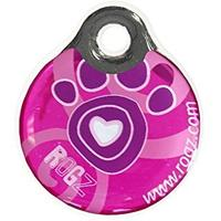 Rogz - ID Tagz Large 34mm Self-Customisable - Instant Resin Tag (Pink Paws Design)