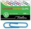Treeline - PVC Coated Assorted Colour Gemclips 100's - 33mm